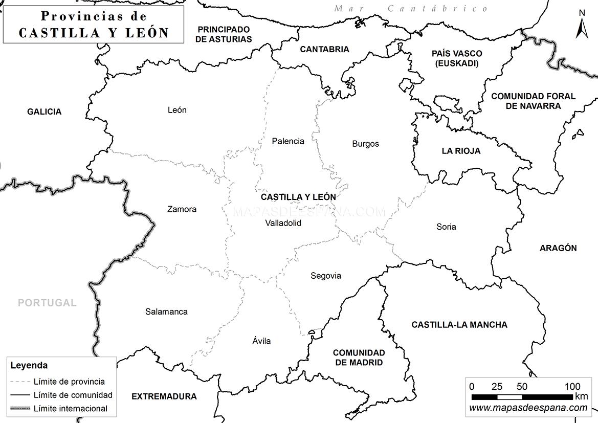 Mapa Castilla Y Leon En Blanco.Mapa De Castilla Y Leon En Blanco