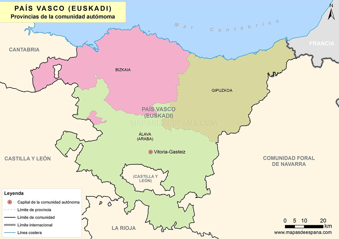 Mapa De Pais Vasco Por Provincias.Mapa Del Pais Vasco