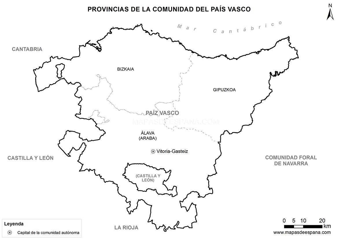 Mapa del País Vasco en blanco.