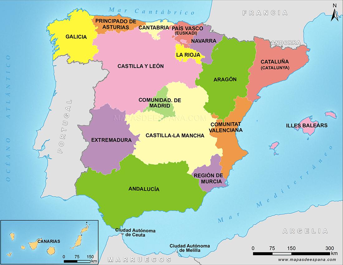 Mapa De España Provincias Y Comunidades.Presentation Escolar Provincias Autonomas De Espana