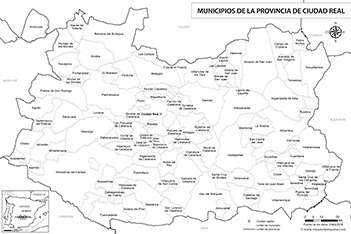 Mapa Provincia Ciudad Real.Mapas De La Provincia De Ciudad Real