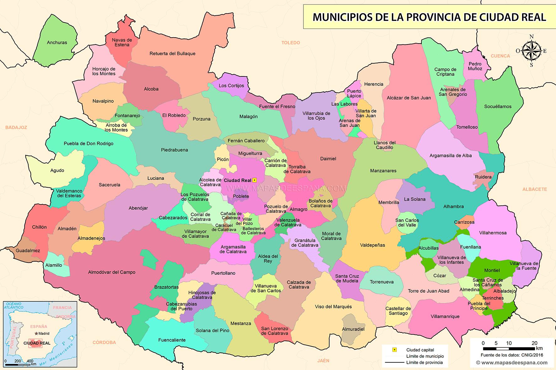Mapa Provincia Ciudad Real.Mapa De La Provincia De Ciudad Real