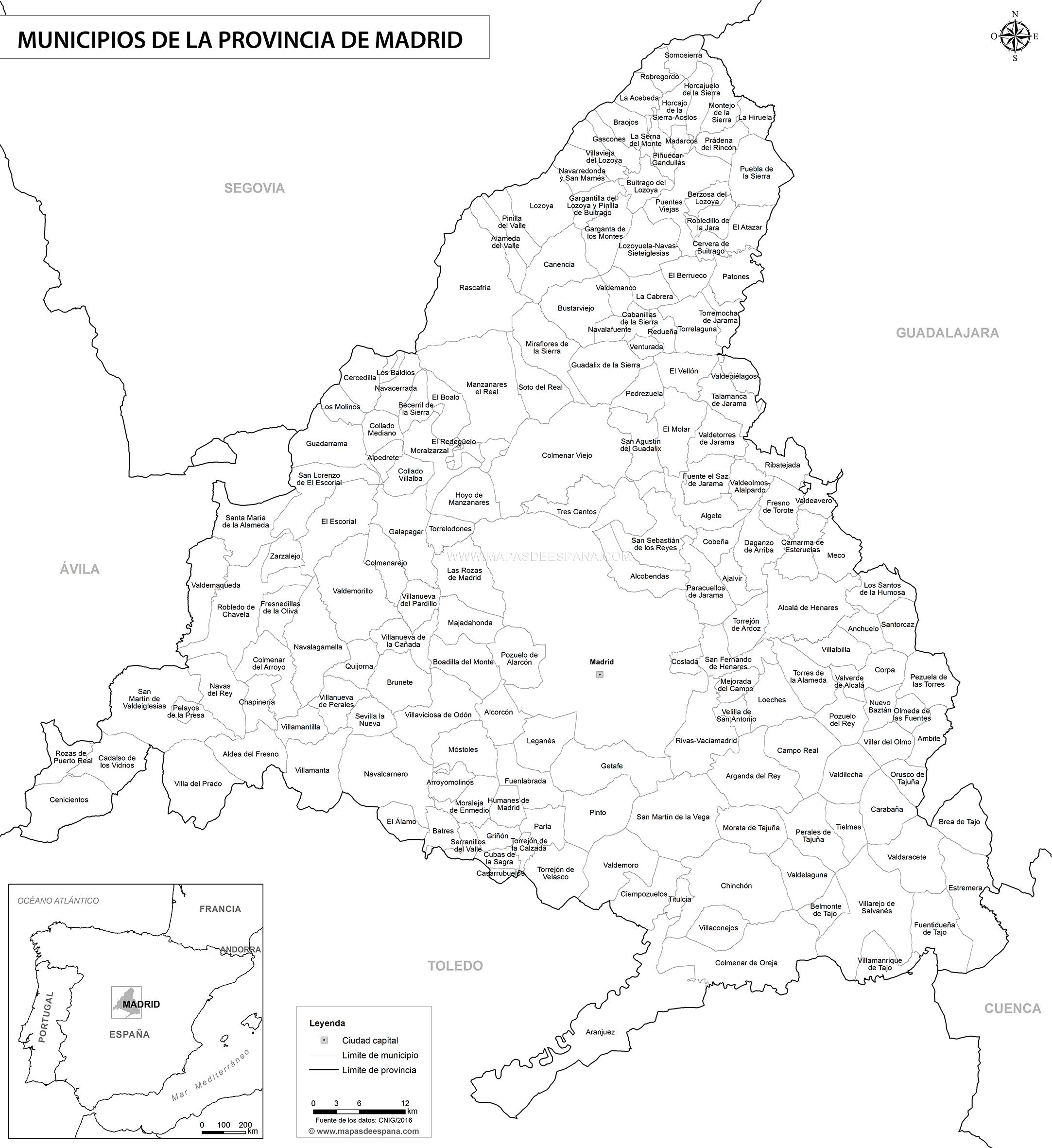 Mapa De Madrid Provincia.Mapa Blanco De La Provincia De Madrid