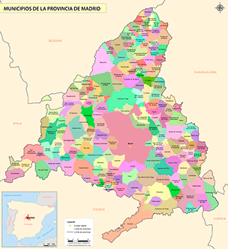 Mapa Terminos Municipales Madrid.Mapas De La Provincia De Madrid