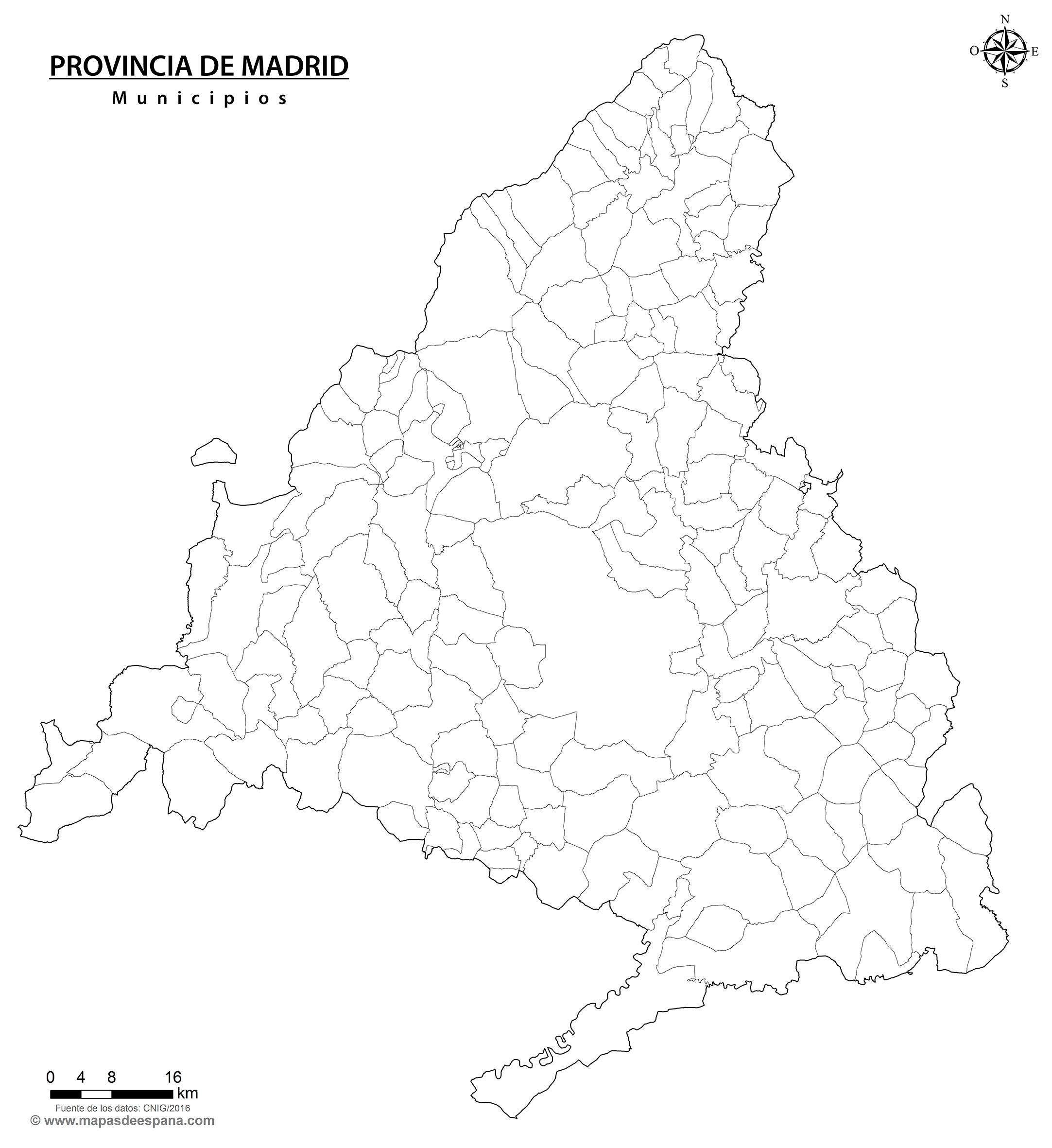 Municipios De Madrid Mapa.Mapa Mudo De La Provincia De Madrid