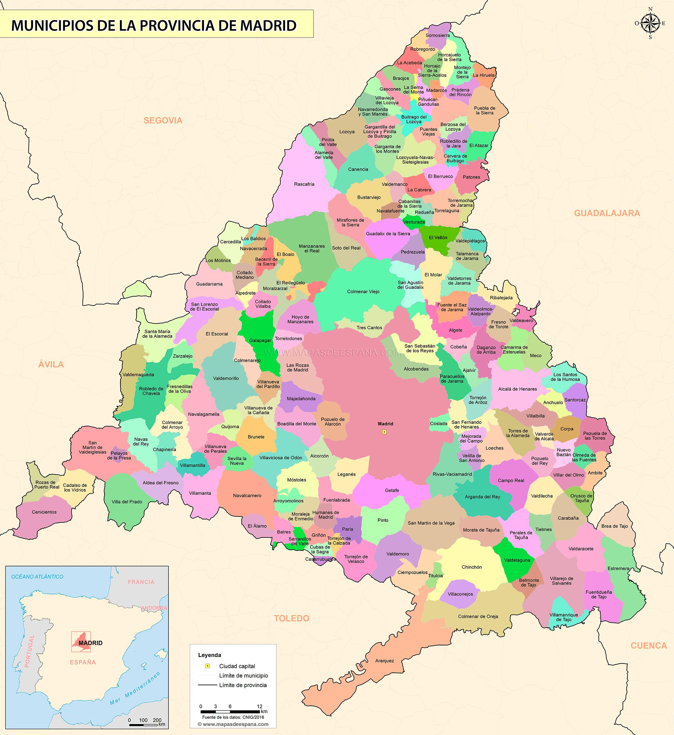 Mapa De La Provincia De Madrid