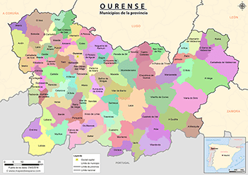 ourense mapa Mapas de la provincia de Ourense ourense mapa