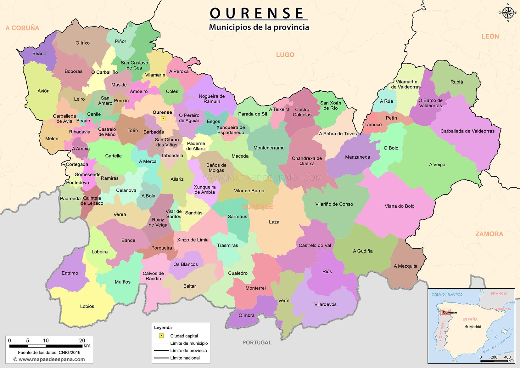 ourense mapa Mapa de la provincia de Ourense ourense mapa