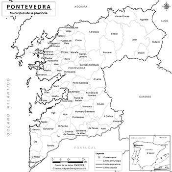 Mapa De Pontevedra Provincia.Mapas De La Provincia De Pontevedra