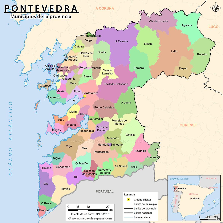 Mapa De Pontevedra Ciudad.Mapa De La Provincia De Pontevedra