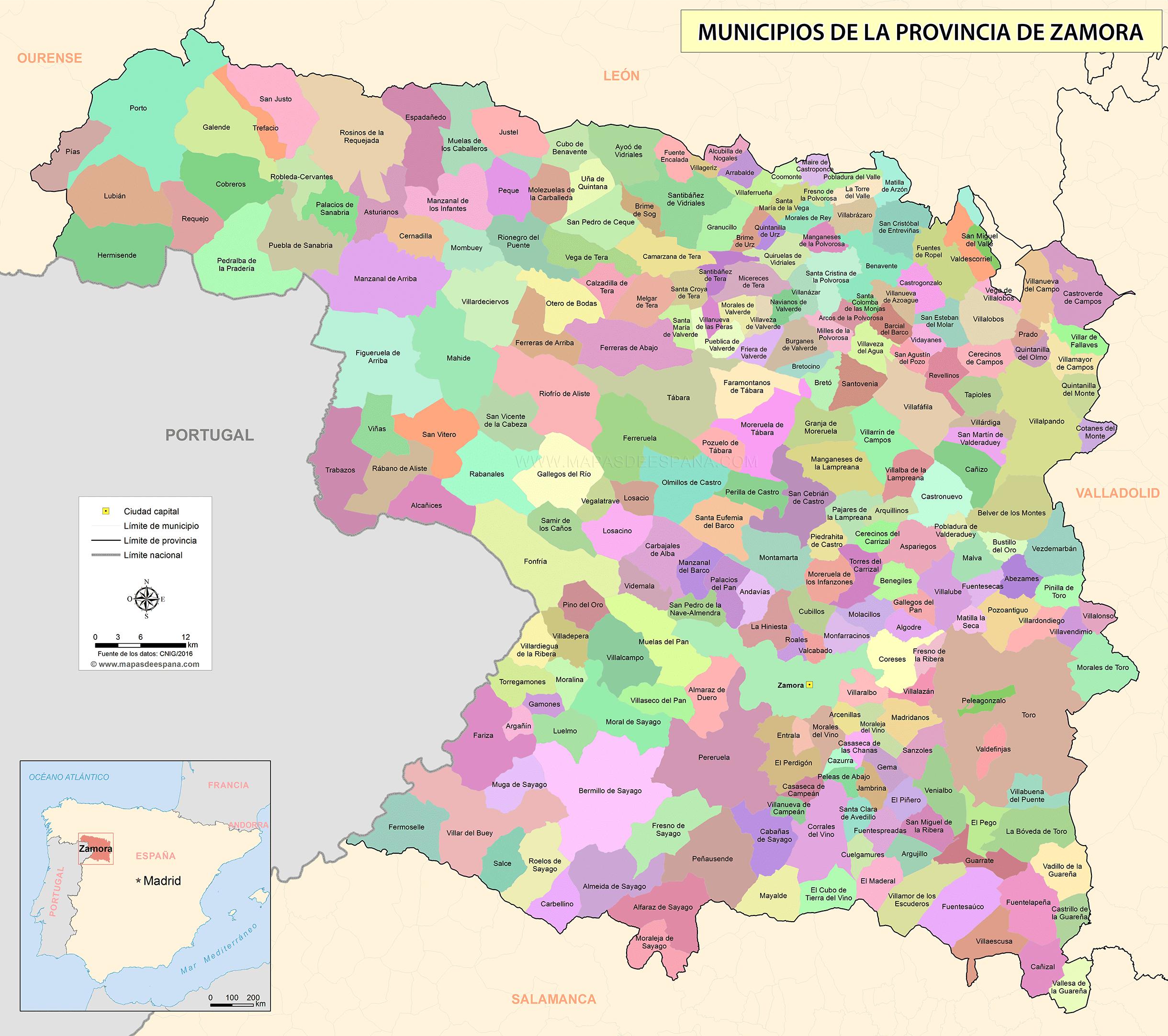 Mapa De Zamora Provincia.Mapa De La Provincia De Zamora